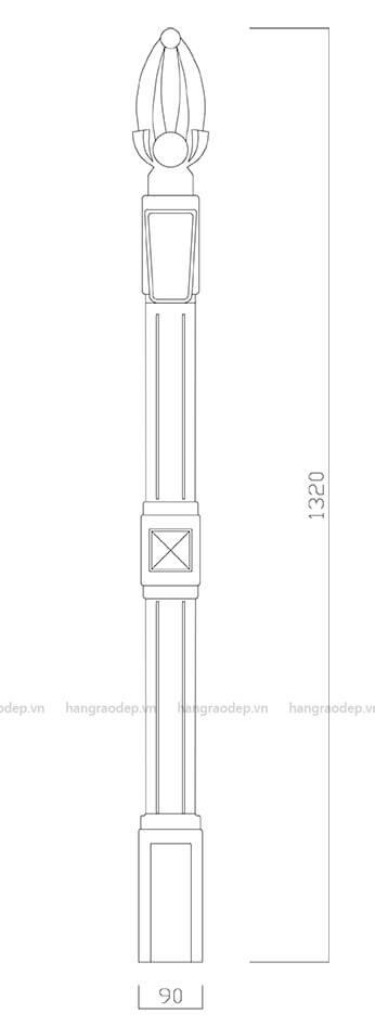 bản vẽ cấu tạo hàng rào vệ binh 1 lỗ