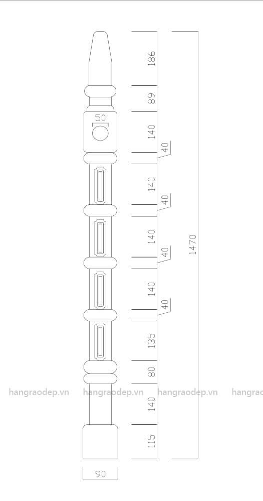 bản vẽ cấu tạo Hàng rào bê tông tháp trụ 5 đốt