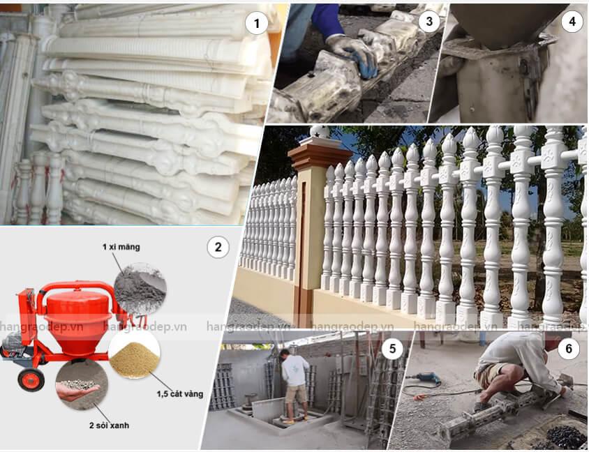 quy trình sản xuất hàng rào trúc sen 3 đốt